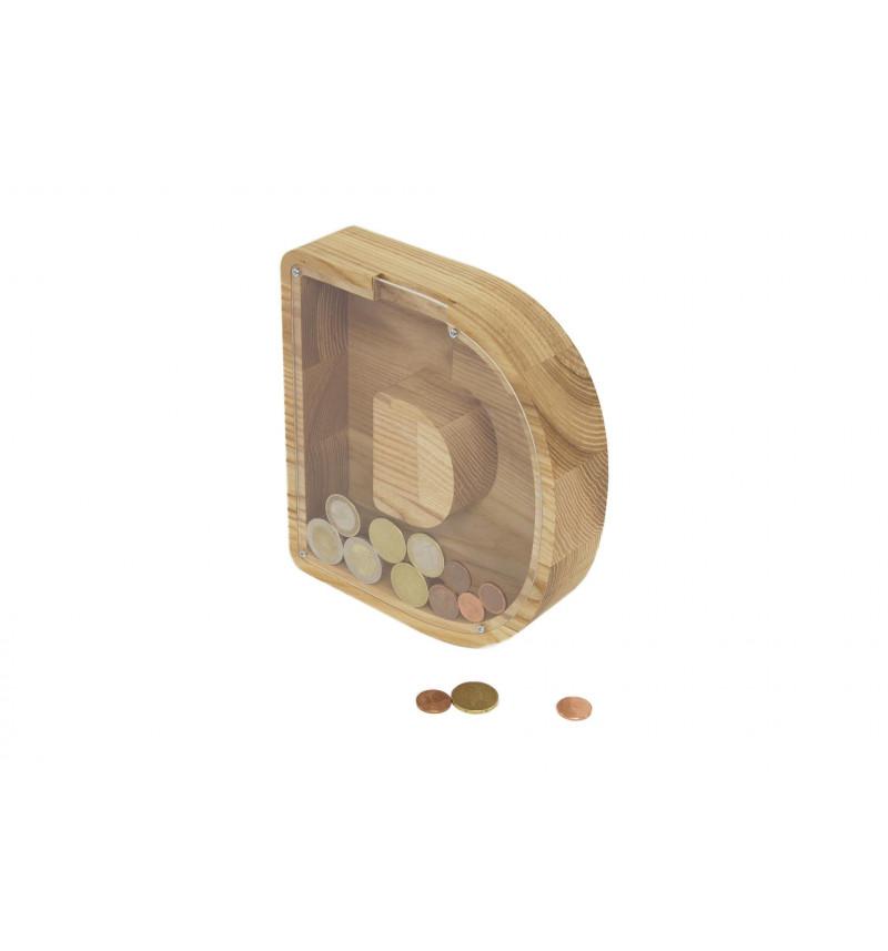 """Didelė personalizuota medinė taupyklė """"Raidė"""""""