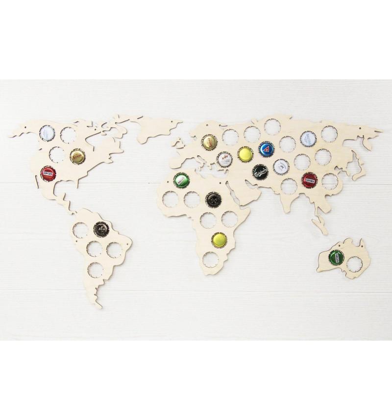 Pasaulio žemėlapis kamštelių kolekcionavimui