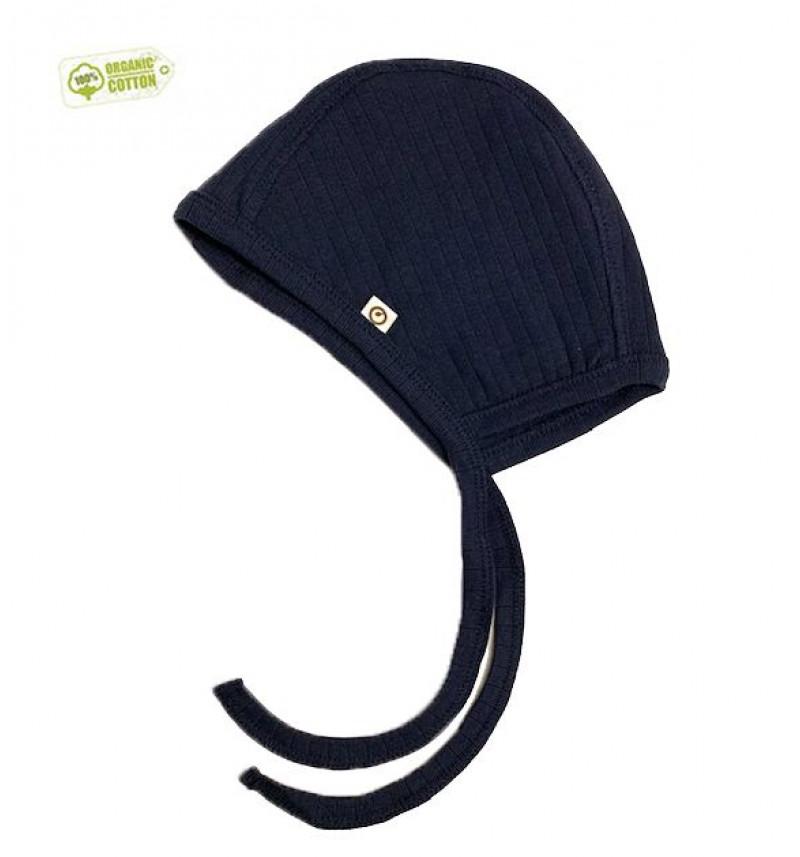 Mėlyna kepurė su raišteliais