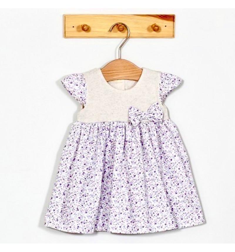 Vilaurita gėlėta šventinė suknelė su kaspinėliu