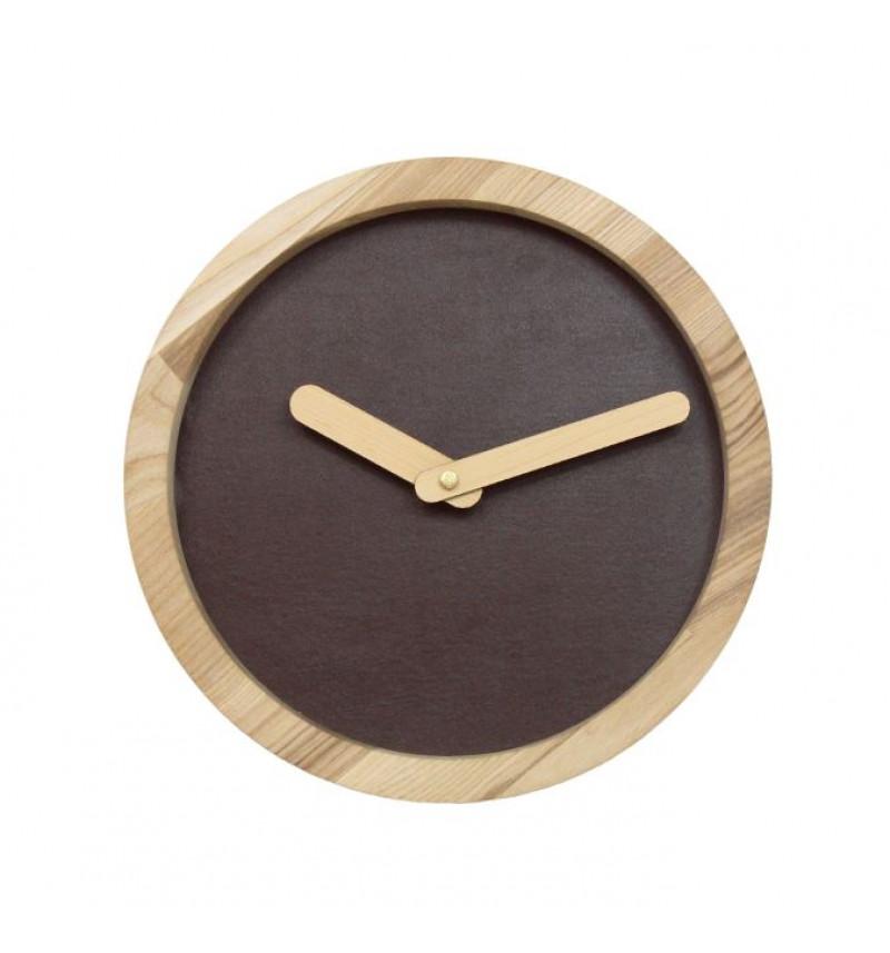 Apvalus sieninis laikrodis su dirbtine oda
