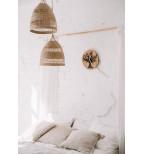 Medinis sieninis laikrodis su akrilo stiklu ir ąžuolu