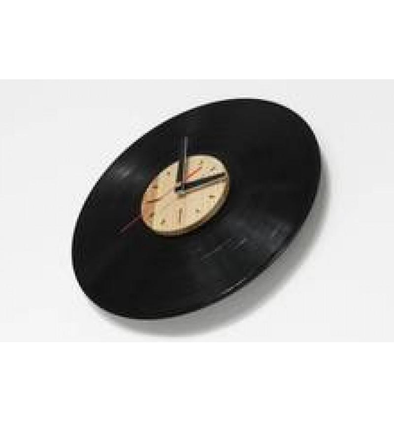 """Medžio ir vinilinių plokštelių laikrodis """"Retro"""""""