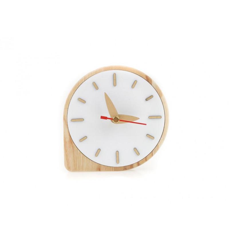 Medinis baltas stalo laikrodis
