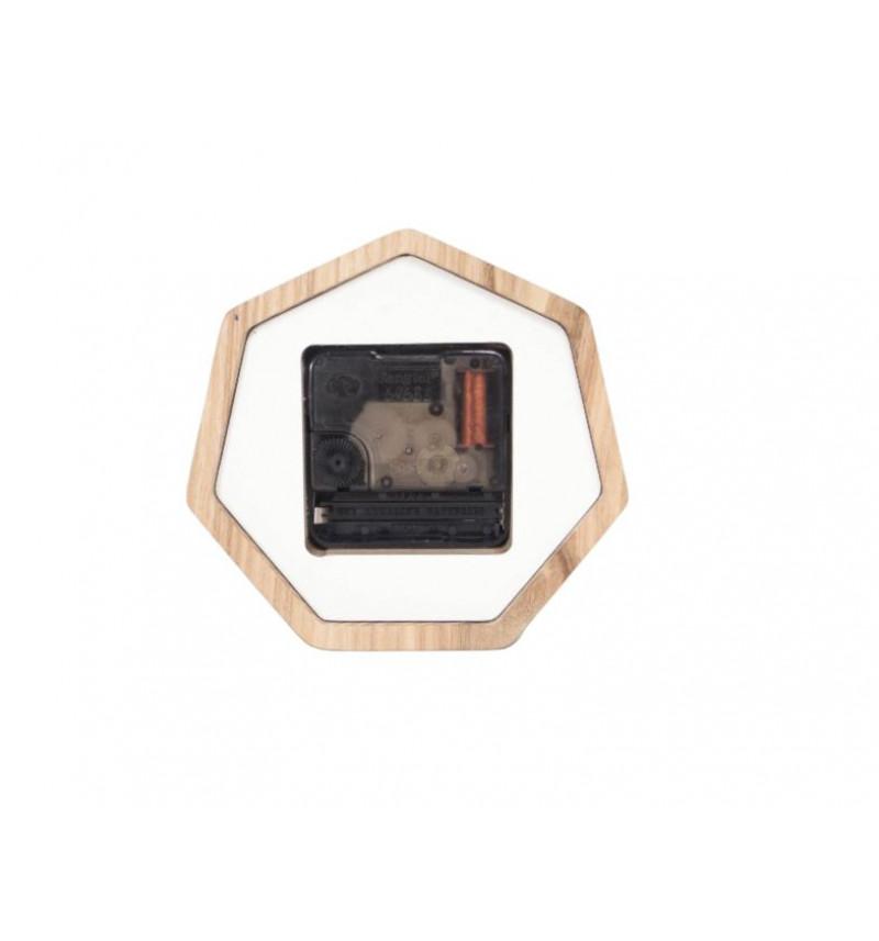 Septinkampės formos medinis sieninis laikrodis