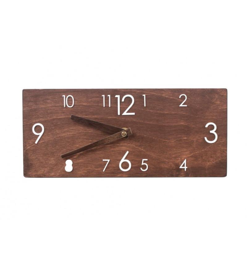 Stačiakampio formos medinis sieninis laikrodis