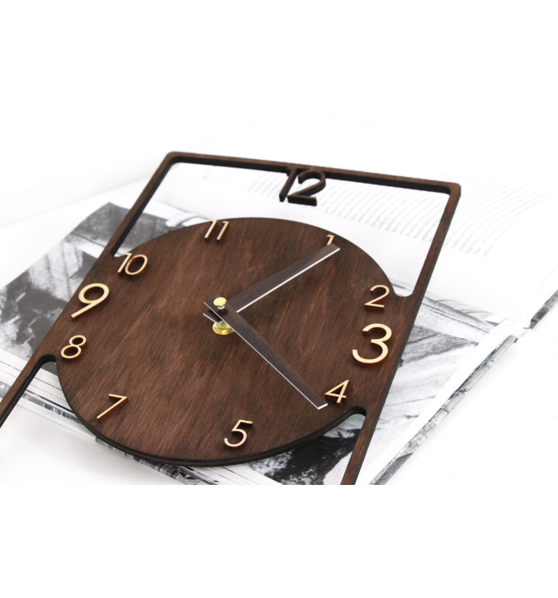 """Stačiakampio formos medinis sieninis laikrodis """"Laikas"""""""