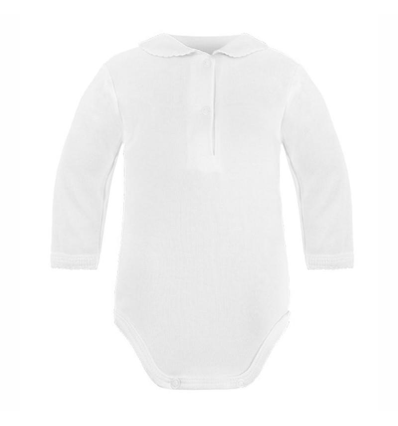 Baltas smėlinukas ilgomis rankovėmis