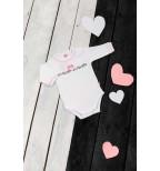 """Baltas smėlinukas ilgomis rankovės, dekoruotas kaspinėliu """"Širdelė"""""""