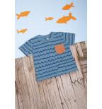 """Bangelėmis puošti mėlyni marškinėliai trumpomis rankovėmis """"Paplūdimys"""""""