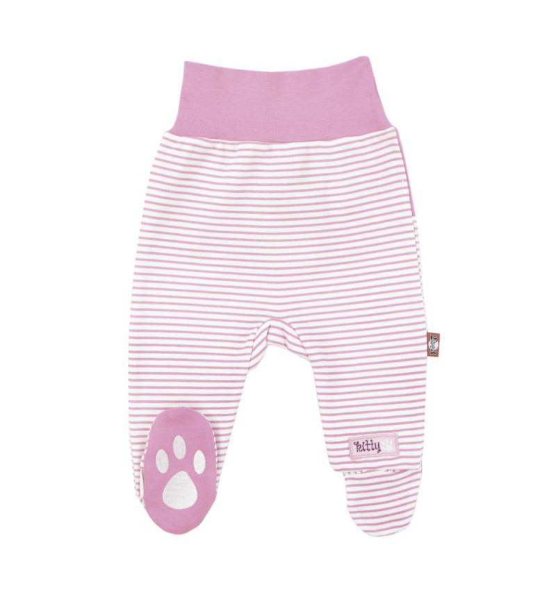 """Dryžuotos rožinės kelnės su pėdutėmis """"Mielas"""