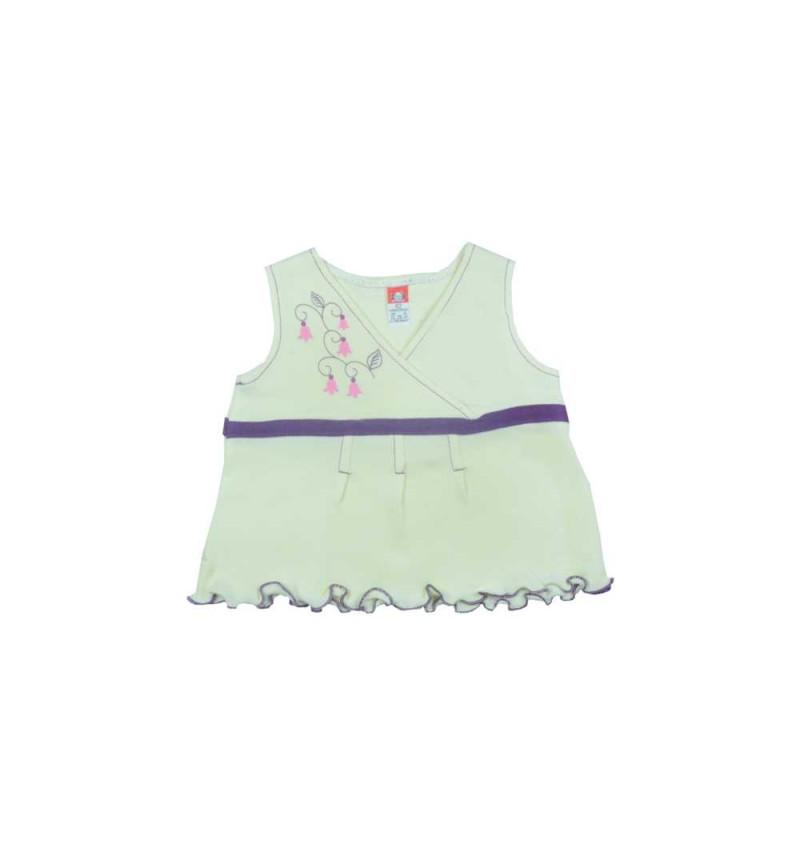 Kreminė suknelė su violetine juostele