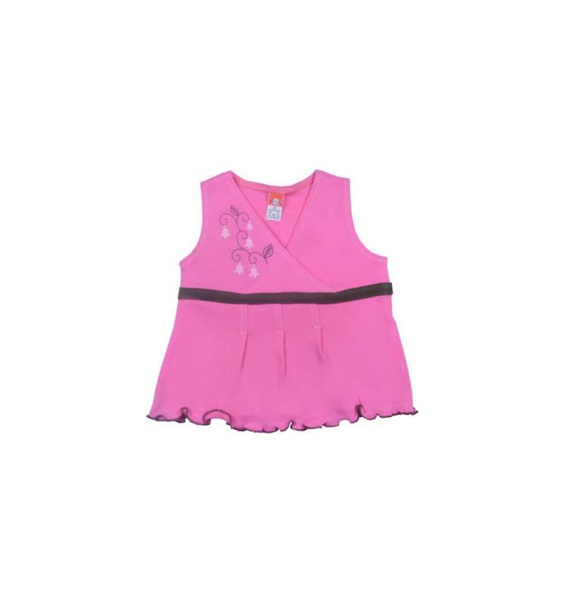 Rožinė suknelė su rudu dirželiu