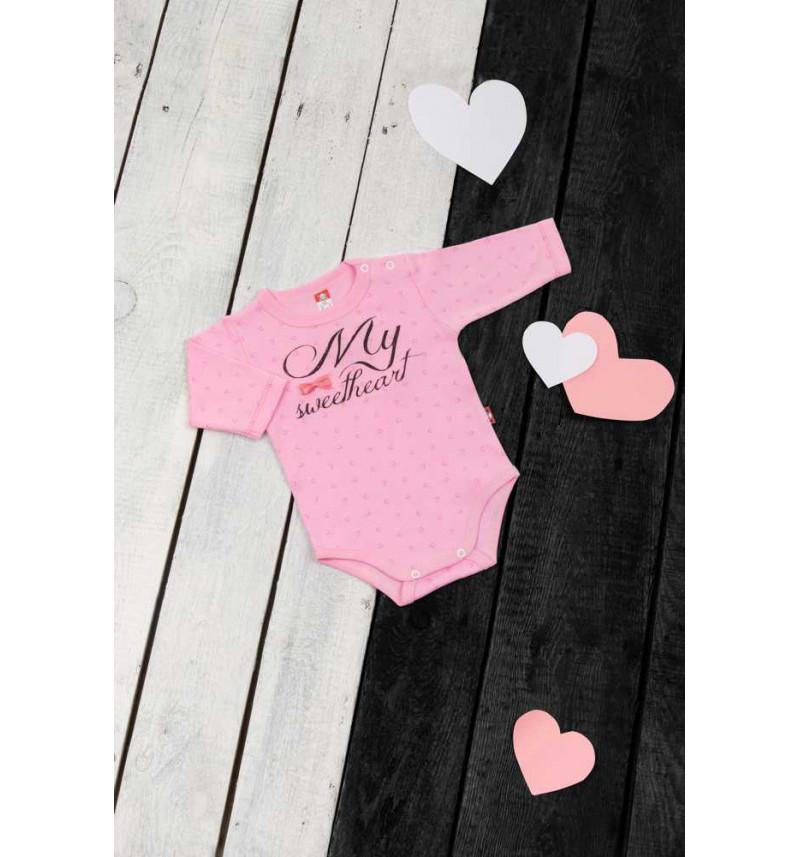 """Rožinis smėlinukas ilgomis rankovėmis """"Širdelė"""""""