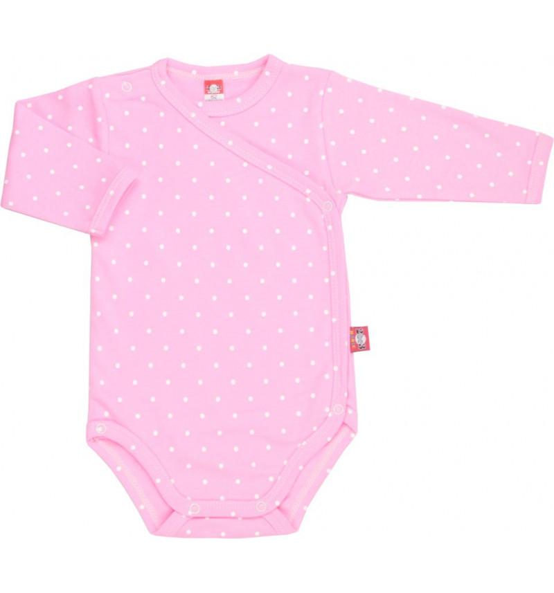 Rožinis smėlinukas su baltais taškučiais susegamas per šoną
