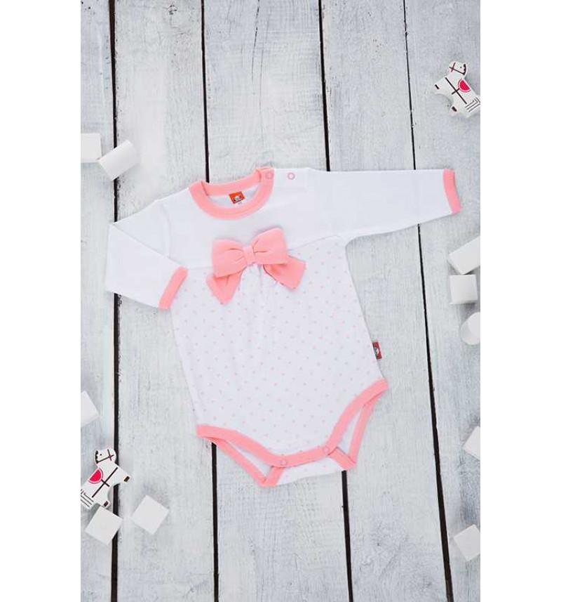 Baltas smėlinukas su rožiniu kaspinėliu