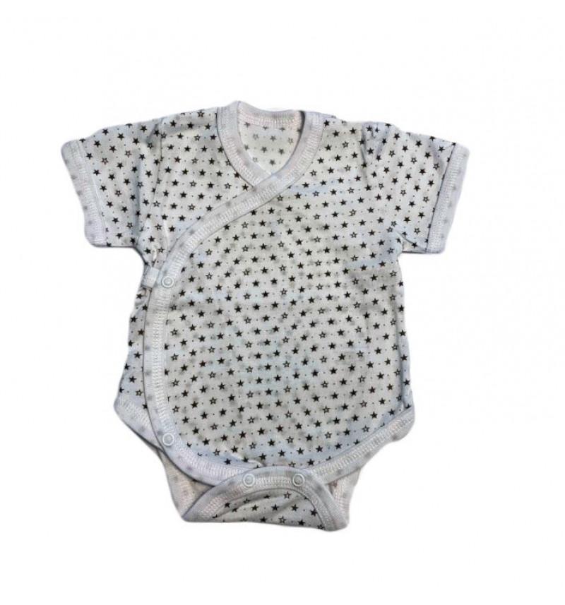 Baltas smėlinukas trumpomis rankovėmis su žvaigždutėmis
