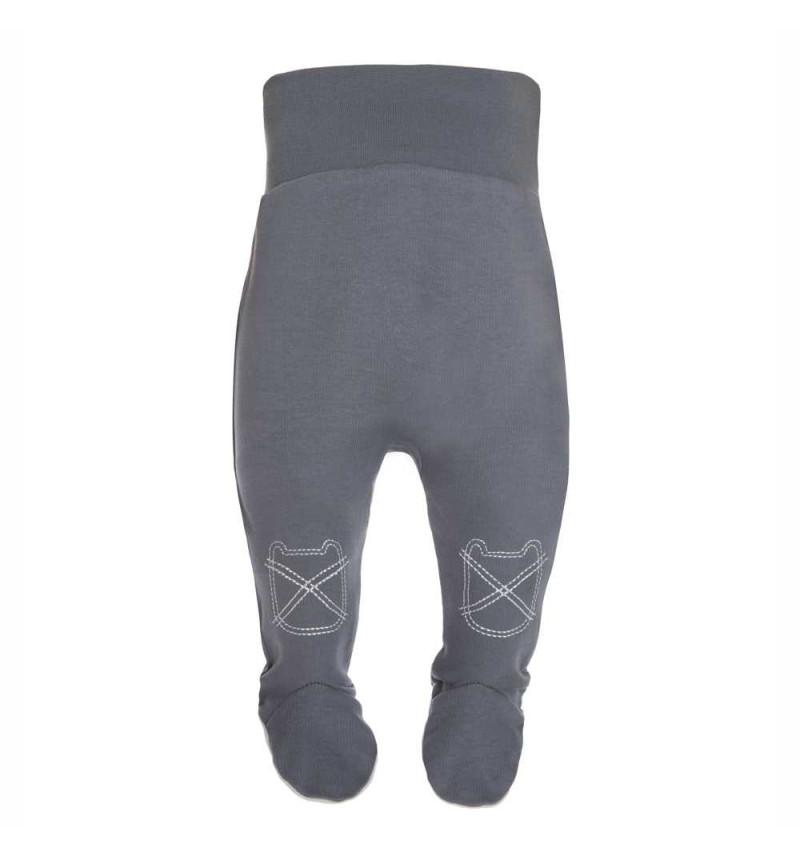 Pilkos spalvos kelnės su išsiuvinėjimu
