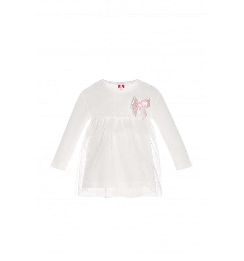 Puošnūs baltos spalvos marškinėliai su kaspinėliu