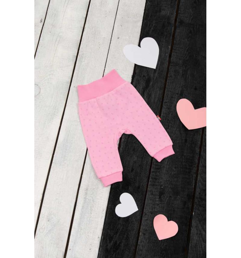 Rožinės kelnės su širdutėmis