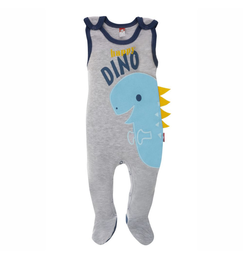 """Šliaužtinukai be rankovių """"Dinozauras"""" su mėlyno dinozauro aplikacija"""