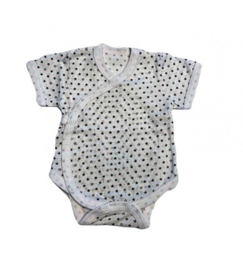 Vilaurita baltas smėlinukas trumpomis rankovėmis su žvaigždutėmis