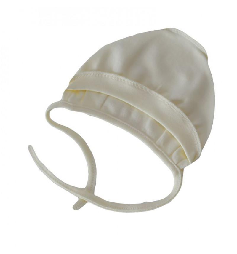 Vilaurita kepuraitė išvirkšiomis siūlėmis su raišteliais