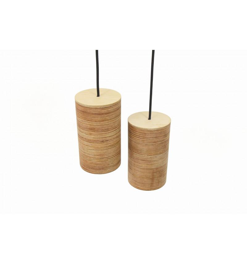 Medinių pakabinamų šviestuvų rinkinys 2 dalių