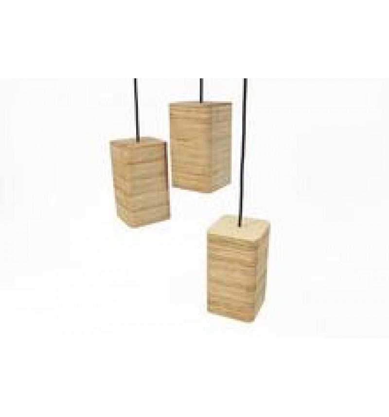 Medinių pakabinamų šviestuvų rinkinys iš 3 dalių