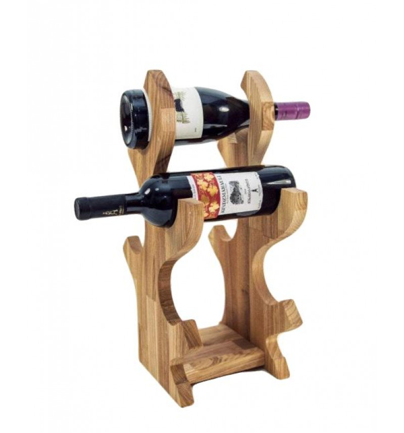 Medinis vyno butelių stovas